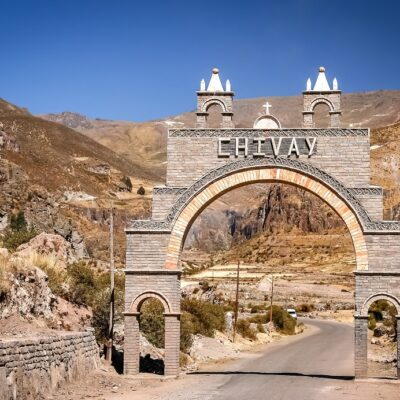 Entry gate to the Chivas village which is the starting point for trips to the Canyon Colca, Peru
