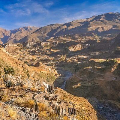 View of the deep Canyon Colca near Chivas, Peru