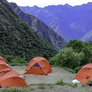 Tents set up for hikers on the Inca Trail.