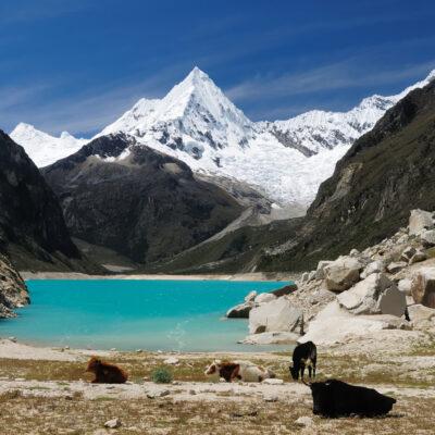 Peru, Beautiful Cordillera Blanca mountain. The picture presents lagoon Paron