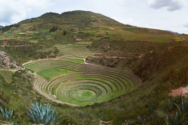 Panorama of moray sacred valley landscape in Peru