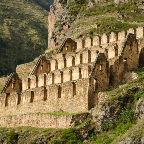 Peru, Ollantaytambo, Pinkulluna Inca ruins in the sacred valley in the Peruvian Andes.