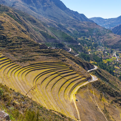 The gigantic archaeological site of Pisa with famed for its agriculture terraced field in the Sacred Valley of the Inca near Cusco, Peru.