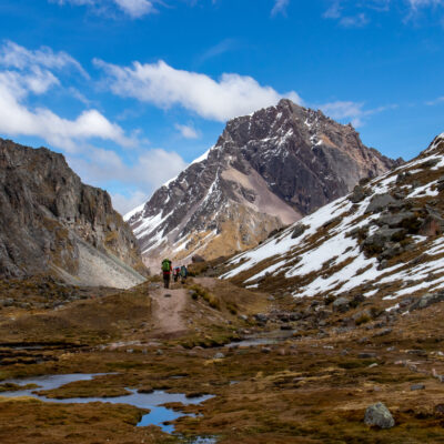 Hikers on the Ausangate Trek in the Cordillera Vilcanota, Andes Mountains, Peru