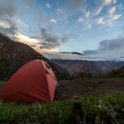 Sleeping tent on the official Choquequirao Camping in cusco, Peru