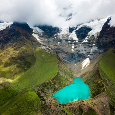 Humantay lake in Peru in the Andes aerial view
