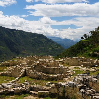 Peru, Kuelap matched in grandeur only by the Machu Picchu, this ruined citadel city in the mountains near Chachapoyas. Constructed AD 900 and 1100, is made up of milions of cubic feet and stones. Circle house
