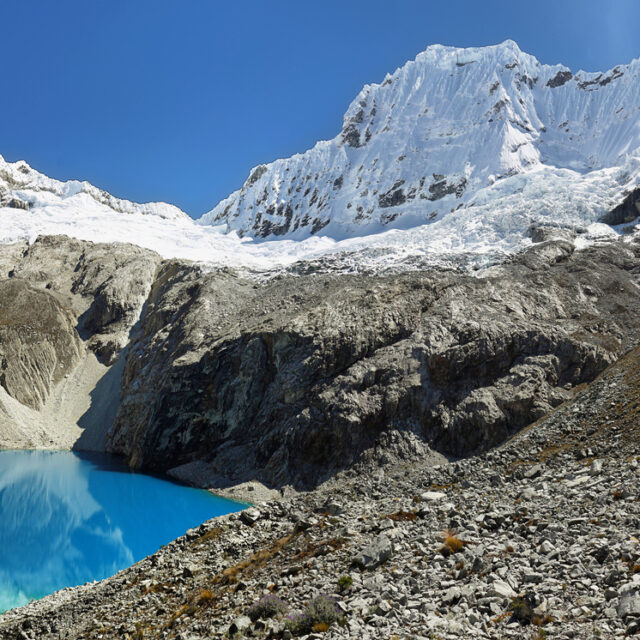 Laguna 69, with the great Nevado Chacraraju mountain in the background. Huascaran National Park - Huaraz - Peru